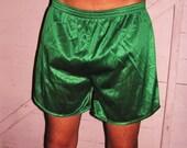 Vintage Men's Green Nylon Running Shorts L