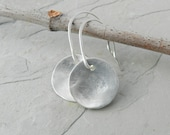 Recycled Reclaimed Brushed Sterling Disc Earrings--Minimalist--Everyday