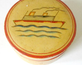 Vintage Set of Wooden Drink Coasters in Round Wood Box with Hand Painted Ship Pictures