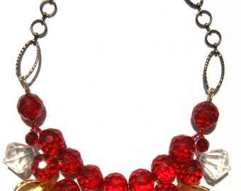 Fun Red amber clear acrylic handmade statement necklace