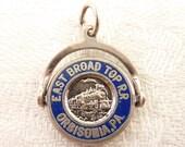 Vintage Sterling Blue Enamel East Broad Top Railroad Orbisonia Pennsylvania Spinner Souvenir Charm