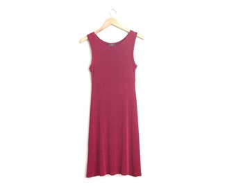 Size XXS/XS // BURGUNDY Tank Dress // Sleeveless - Slinky - Stretchy - Fitted - Vintage '90s.
