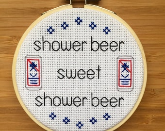 Shower beer cross stitch