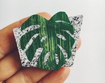 Monstera Leaf Brooch
