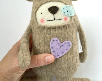 Small Cashmere Puppy Dog Stuffed Animal Upcycled Repurposed Sweater Oatmeal