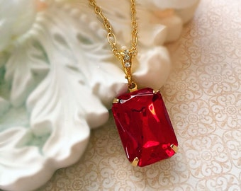 Christmas Gifts for Wife - Art Deco Necklace - Ruby Necklace - Christmas Necklace - Victorian Jewelry - WINDSOR Ruby