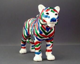 Glitter Menagerie Multi Colored Tiger Ornament