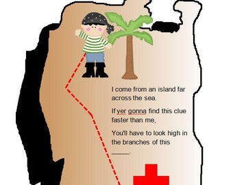 Outdoor Pirate Treasure Hunt, 10 Clues, Great for Birthday Parties, Digital file