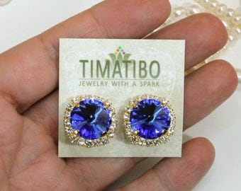 Royal Blue Crystal Clip earrings Bridal Gold Sapphire Blue Clip Ons Electric Blue Swarovski Earrings Wedding Clear Halo,Gold,Sapphire,GE111