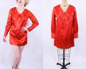 1960s dress vintage 60s red satin peter pan collar long sleeve dress mini dress S