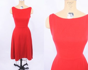 1960s dress vintage 60s red wool sleeveless holiday party cocktail dress XS W 24""