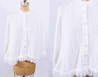 1960s sweater cape | white knit fringe sweater cape | vintage 60s cape