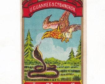 Vintage Thai Fabric Dye Bottle Label by U. Guan Kee & Co Bangkok   Bird and Snake Ilustration   Antique Label
