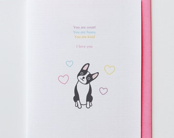 I Love You Boston Terrier - Anniversary Card, Valentine Card, I Love You Card, Funny, Unique, Boston Terrier, Cute, Kawaii, Dog, Animal Card