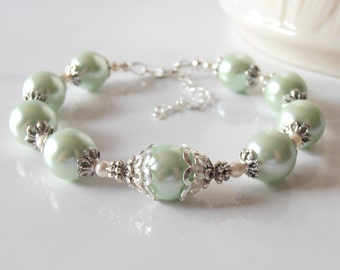 Mint Pearl Bracelet Bridesmaid Bracelet Mint Wedding Jewelry Glass Pearl Bracelet Mint and Ivory Custom Sizes Available Gift for Bridesmaid
