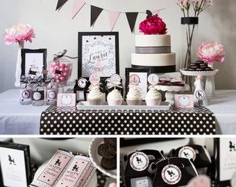 Paris Party Decorations, Paris Birthday Party Decor, Paris Party Kit, Paris, Paris Theme, Poodle, Eiffel Tower Theme, Poodle Birthday