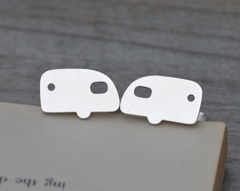 Caravan Cufflinks In Solid Sterling Silver, With Personalized Message On The Backs, Handmade In The UK