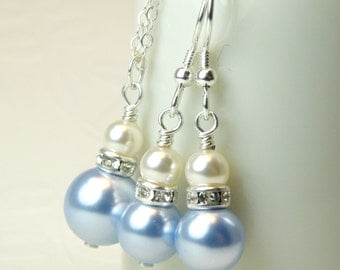 Light Blue Pearl Jewelry Set, Swarovski Pearl Necklace and Earrings, Sterling Silver, Bridesmaid Spring Wedding Bridal Party Gift, Handmade