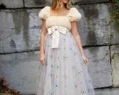 Vintage 50s MINK Dress Sparkly TULLE Party Dress with Satin Bow Empire Waist PRINCESS Dress White Fur Evening Dress