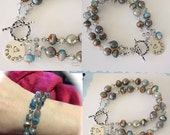 Grandma Double Strand Bracelet Personalized, Blue, Bronze, Labradorite Gemstones, Silver Bracelet, Czech Glass, Nana, Mother, Monogram Charm
