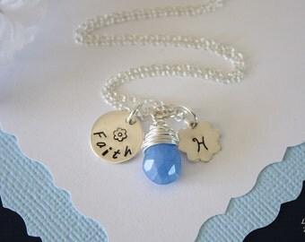Faith Necklace Personalized, Initial Charm, Birthstone Gemstone, Sterling Silver, Custom Faith necklace, Flower Charm, Birthstone Necklace