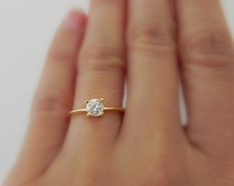 gold cz solitaire ring diamond ring cubic zirconia engagement ring white diamond cz - Fake Wedding Ring