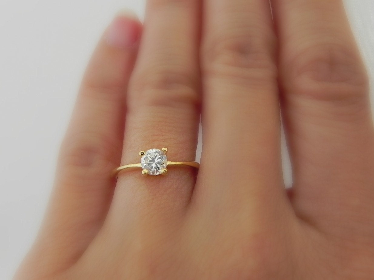 Gold cz solitaire ring diamond ring cubic zirconia for Tiny wedding ring