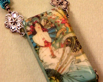 Alphonse Mucha // ALTERED DOMINO NECKLACE // Evening Reverie // Art Deco with Spiral Wire Beads