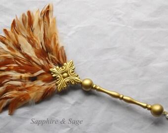 Renaissance Ostrich Feather Fan, Medieval Feather Fan, Victorian Fan, Elizabethan Feather Fan, Tudor Fan for Faire Cosplay SCA