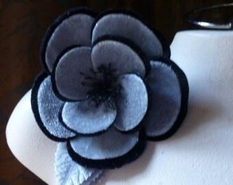 Gray & Black Flower Velvet Millinery Flower for Bridal, Hats MF 110bgr