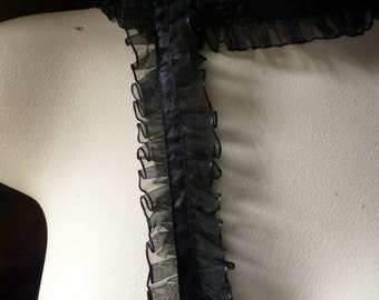 16 yds Black Ruffled Organza with Satin for Garments, Costume Design