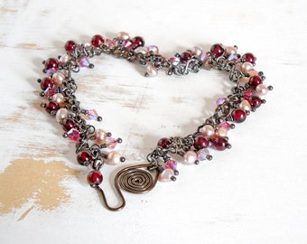 Garnet Bead Bracelet, Pearl and Crystal Jewellery, Cluster Bracelet, January Birthstone, Copper Wire Jewelry, Pink Dangle Bracelet