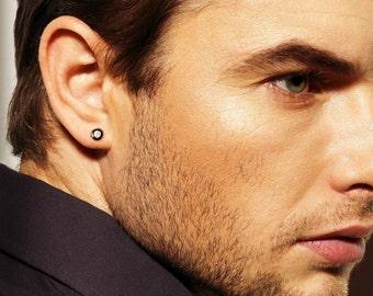 Real diamond stud earrings for men, mens diamond studs, black stud earrings for guys, mens black stud earrings, black post earrings, E500SB
