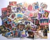20 x Christmas postage stamps | Nativity, Angels etc | modern + vintage random used stamps for Christmas crafts, collage, upcycle, decoupage