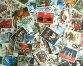 Christmas Stamp Packet, British Stamps - Santa, Snowmen, Robins, Christmas Trees, Stars, Angels, Nativity | used stamps Christmas card craft