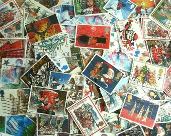 Christmas Stamp Packet, British Stamps - Santa, Snowmen, Robins, Christmas Trees, Stars, Angels, Nativity   used stamps Christmas card craft