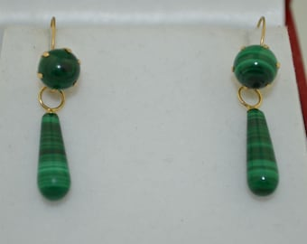 14K Malachite Day or Night Drop Earrings