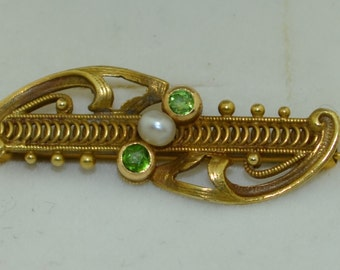 Art Nouveau 14K Green Garnet & Pearl Pin - Brooch