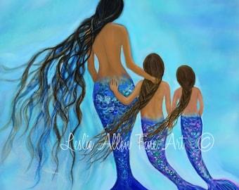 """Mermaid Art Mermaid Print Mermaid Painting Mother Daughters  Mom Art Mother Ocean Theme Decor  """"You Are My Treasures"""" Leslie Allen Fine Art"""