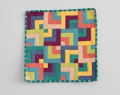 Baby Blankie, Lovey, Security Blanket - Modern Patchwork Overlapping Squares