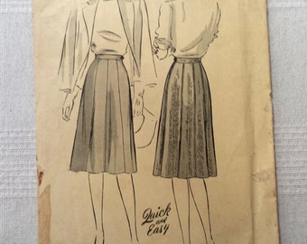 Butterick 2095, vintage 1942 gored skirt pattern waist 28""