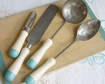 Vintage A & J Toy Serving Spoons Peeler Utensil Lot 1920's