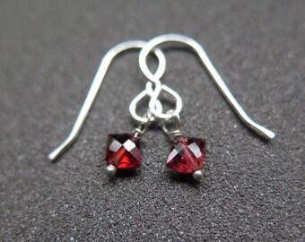 SALE red garnet earrings. January birthstone jewelry. small dangle earings.