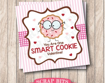 Instant Download One Smart Cookie Valentine Tags . Printable Valentine Cookie Tags