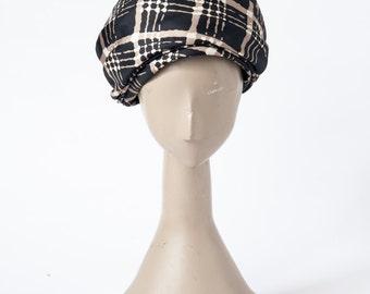 Vintage Silk Turban, 1960s Emme Designer Hat, Geometric Mid Century Print, Bonwit Teller, Hats & Caps, Formal Hats
