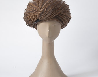 60s Mocha Cocoon Turban, Vintage Jean Bartlet Designer Hat, Mid Century Taupe Raffia Bubble Hat, Made in France for Bonwit Teller New York