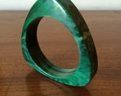 Vintage Green Marbleized Catalin Plastic Bangle Bracelet Big Chunky Jewelry Piece Bakelie Era 40s 50s