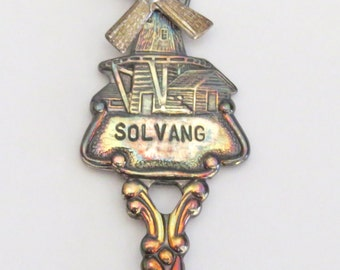 Solvang Holland Collector Spoon, Windmill Vintage Travel Souvenir in Box