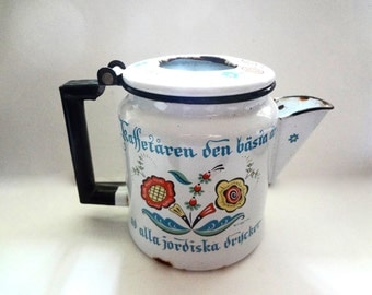 Vintage Berggren Enamel Coffee Pot Swedish Folk Art  No Glass Top Or Metal Filter Some Rust And Wear