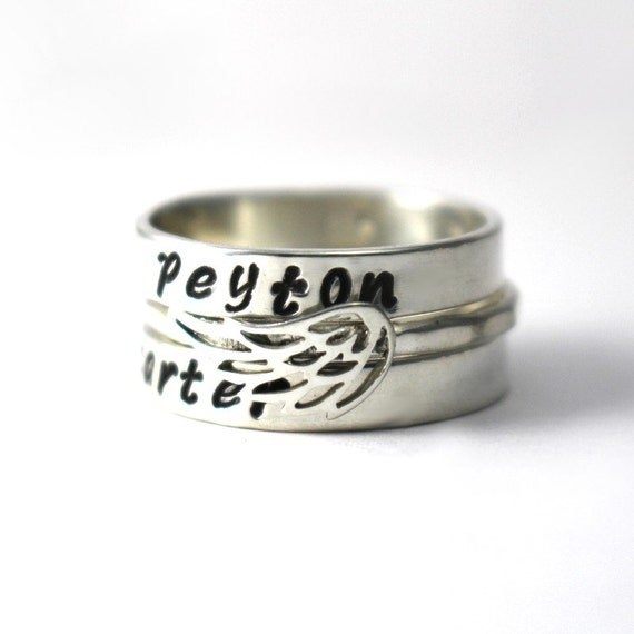 items similar to mothers day stack rings wing word